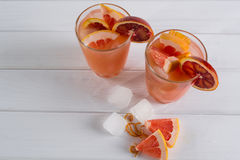 Refreshing summer cocktails with citrus fruits Stock Photo