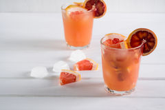Refreshing summer cocktails with citrus fruits Top view. Stock Photos