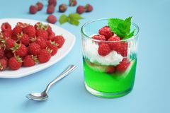 Refreshing summer dessert - gelatin with berries and whipped cream, on a blue background royalty free stock photos