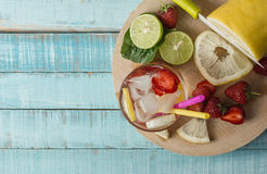 Refreshing summer drink with fruit and ice Stock Photography
