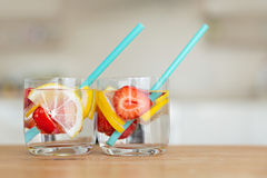 Refreshing summer drink. With lemon and strawberry Royalty Free Stock Image
