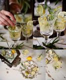 Refreshing summer drink with lemon.Thirst-quenching water. Collage. Refreshing summer drink with lemon. Thirst-quenching water Royalty Free Stock Photography