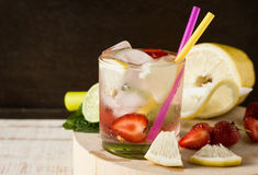 Refreshing summer drink in misted glass Stock Photos