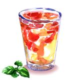 Refreshing summer drink with strawberries and mint in glass, iced tea with fresh fruits, isolated, hand drawn watercolor royalty free illustration