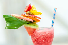 Refreshing summer drink with strawberries and watermelon stock photo