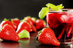 Refreshing summer drink with Strawberry Royalty Free Stock Photography