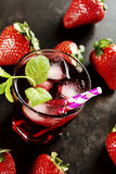 Refreshing summer drink with Strawberry. In glass Stock Photo