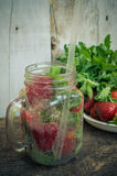 Refreshing summer drink with strawberry Royalty Free Stock Images