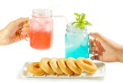 Refreshing summer drinks in jar Stock Image