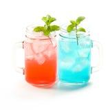 Refreshing summer drinks in jar Stock Photo