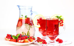 Refreshing summer ice tea with fresh fruits Royalty Free Stock Photography