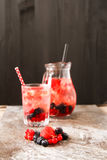 Refreshing summer ice tea or lemonade with fresh homemade fruits Stock Photo