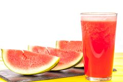 Refreshing summer fruit drink. Pureed watermelon crush smoothie. Refreshing thirst quenching summer fruit drink. Pureed watermelon crush smoothie. Slices of Royalty Free Stock Photography