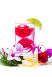 Refreshing tropical cocktail with fresh flowers Royalty Free Stock Photos