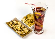 Refreshing typical sangria drink from Spain, with ice and fruits. Royalty Free Stock Photo