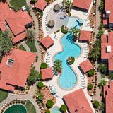 Refreshing view of swimming pool from above Stock Photography