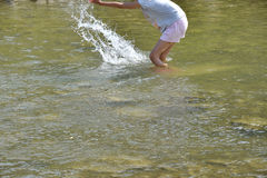 Refreshing walk in river in hot sommer. With dog stock images