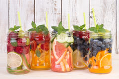 Refreshing water with fruits and mint Stock Image