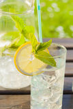 Refreshing water with lemon and mint Stock Photography