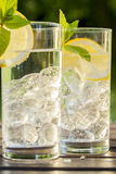 Refreshing water with lemon and mint Stock Image