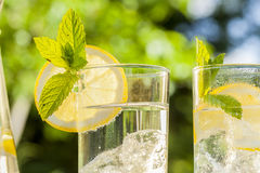 Refreshing water with lemon and mint Stock Photo