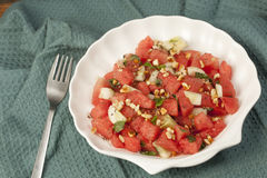 Refreshing watermelon, cucumber and mint salad. Stock Photography