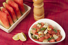 Refreshing watermelon, cucumber and mint salad. Royalty Free Stock Photos
