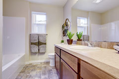 Refreshing white bathroom in empty house Royalty Free Stock Photos