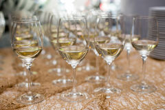 Refreshing White Wine in a Glass on a Background stock photo