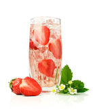 Refreshment beverage with strawberries and ice cubies Royalty Free Stock Photo