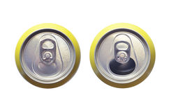 Refreshment cans. Top view of two cans of refreshment. One is open and the other closed stock photo