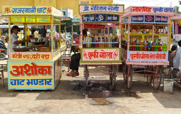 Refreshment carts. JHUNJHUNU, RAJASTHAN, INDIA - August 9, 2009 - Refreshment carts outside Rani Sati Temple Stock Images