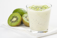 Refreshment and creamy milkshake  kiwi and lime Royalty Free Stock Image