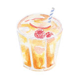 Refreshment drink illustration. Hand drawn watercolor on white background. Royalty Free Stock Image
