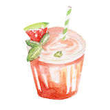 Refreshment drink illustration. Hand drawn watercolor on white background. Stock Images
