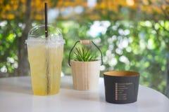 Refreshment drink lemonade. On white table Stock Image