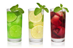 Refreshment drinks. Three refreshment drinks in glasess with mint and ice royalty free stock photography