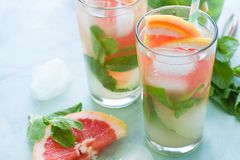 Refreshment grapefruit cocktail with mint on mint color background. Healthy citrus summer drink Stock Images