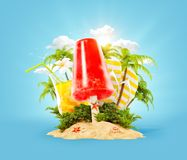 Refreshment ice cream and tropical palm. On a paradise island. Unusual travel 3d illustration. Summer vacation and travel concept Royalty Free Stock Photography