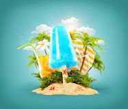Refreshment ice cream and tropical palm vector illustration