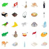 Refreshment icons set, isometric style. Refreshment icons set. Isometric set of 25 refreshment vector icons for web  on white background Royalty Free Stock Photography