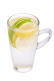 Refreshment with lemon and green apple.  Stock Photos