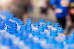 Refreshment point. Water bottles at the refreshment point at the city competition Stock Photo