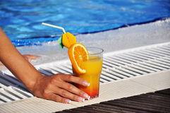 Refreshment at swimming pool Royalty Free Stock Images