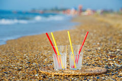 Refreshments at the beach Stock Image