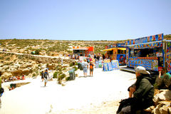 Refreshments, Blue Lagoon, Malta. Refreshment kiosks on the small island of Comino with the Blue Lagoon, Malta Stock Images