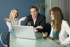 Refreshments break. Business team relax during a conference break royalty free stock photo