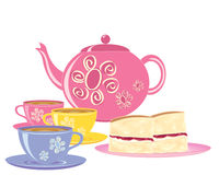 Refreshments. An illustration of a pink teapot with matching tea cups and a plate of slices of victoria sponge cake on a white background Stock Photography