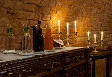 Refreshments. Luxurious romantic party refreshments lit by candles royalty free stock images