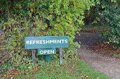 Refreshments open sign. Royalty Free Stock Image